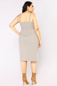 Out Of The Trenches Plaid Dress - Light Brown Angle 13