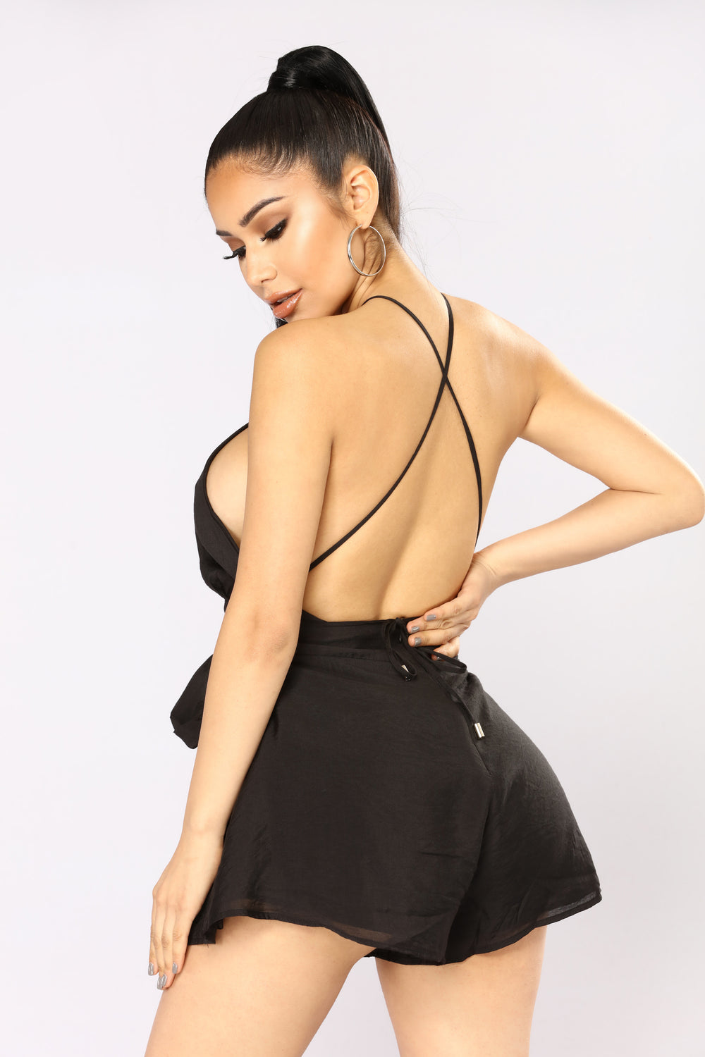 Lock And Keyhole Romper - Black
