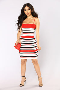 Lucinda Mini Dress - White/Red