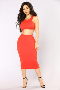 Make The Cut Midi Dress - Red