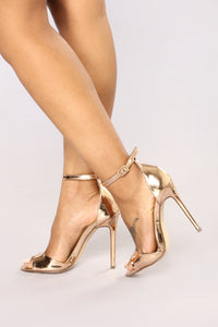 On The Up Heeled Sandal - Rose Gold