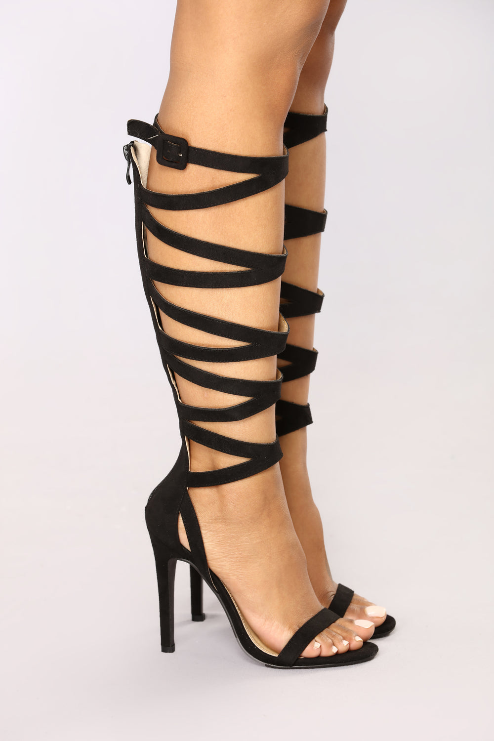 The Zone Knee High Strappy Heel - Black