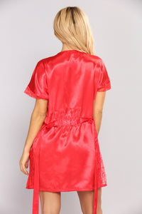 Your Sweetheart Silky Robe - Red