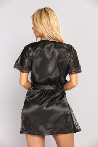 Your Sweetheart Silky Robe - Black
