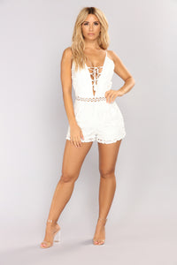 Bottomless Brunch Crochet Romper - Ivory Angle 1