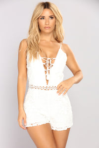 Bottomless Brunch Crochet Romper - Ivory Angle 2
