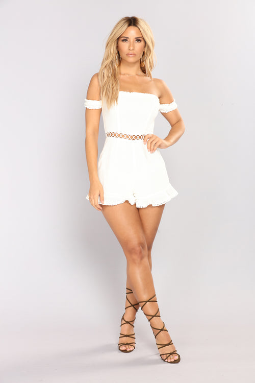 Broken Promises Lace Up Romper - Ivory