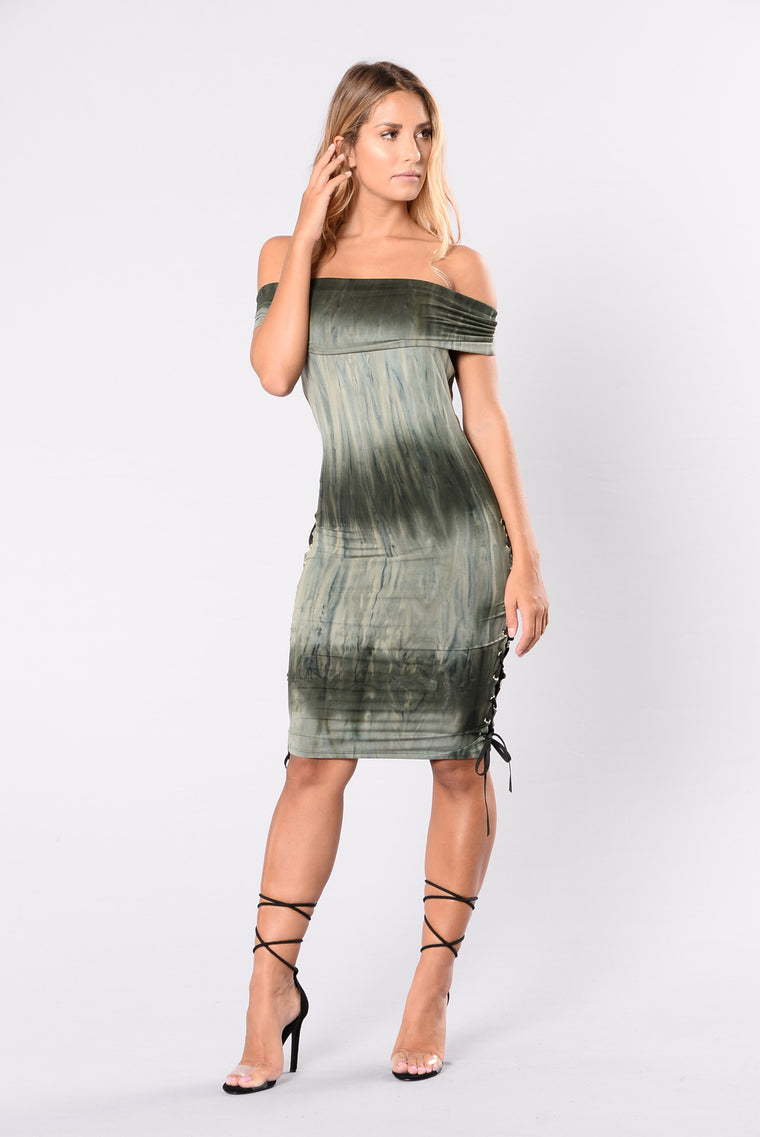 Hands In The Air Dress - Olive