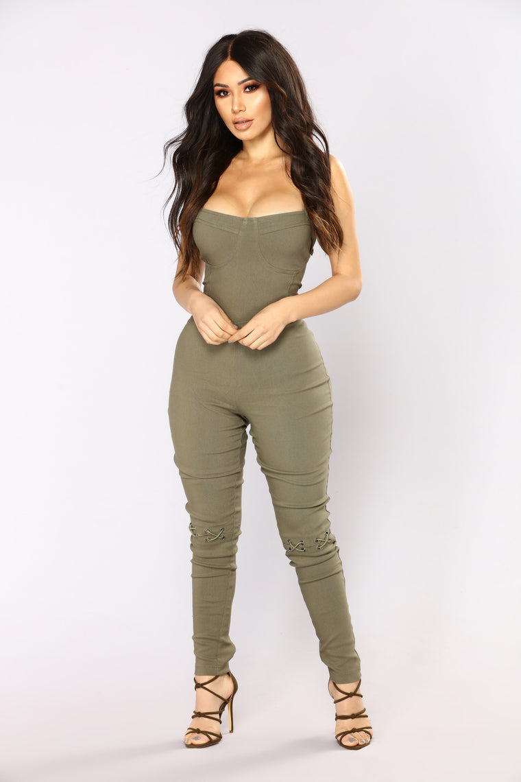 Wrong Turn Jumpsuit - Olive