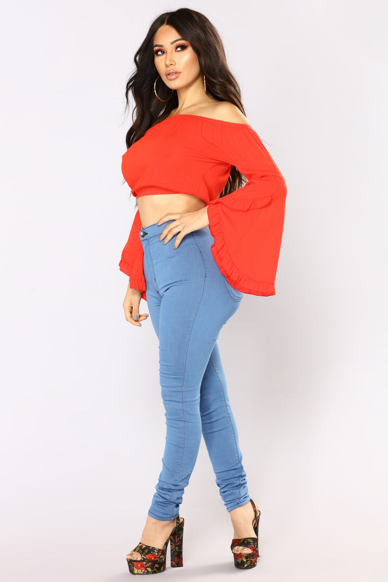 Wynn Long Sleeve Top - Red