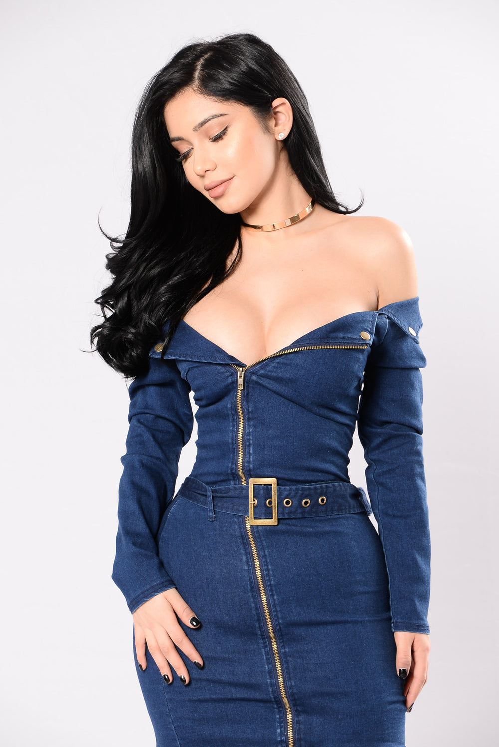 Casually Caught Up Denim Dress - Medium Wash