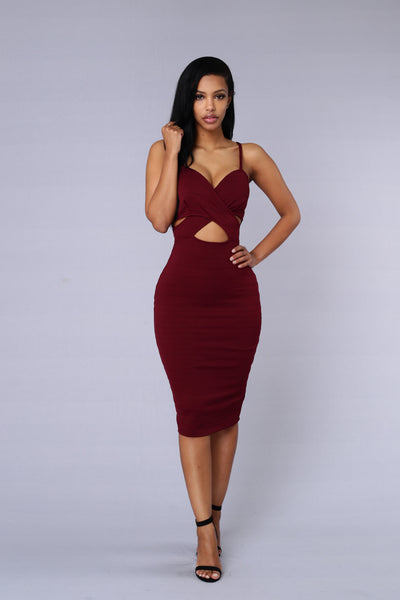 Set You Free Dress - Burgundy