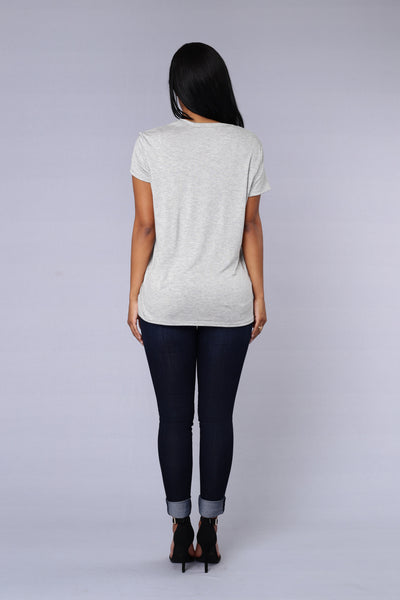 Double Scoop Top - Heather Grey