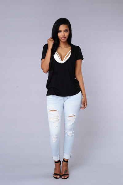 Double Scoop Top - Black