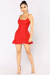 My Moment Lace Dress - Red
