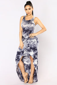 Tessa Tie Dye Dress - Navy