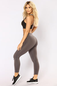 The Run Around Active Leggings - Charcoal