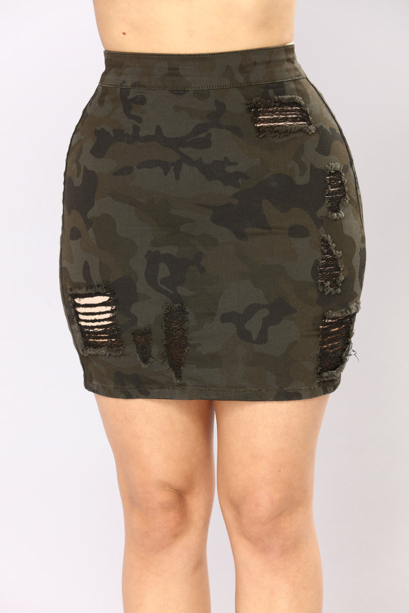 Attention Please Mini Skirt - Camo