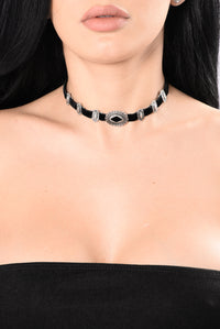 See What She'll Do Choker - Black/Silver