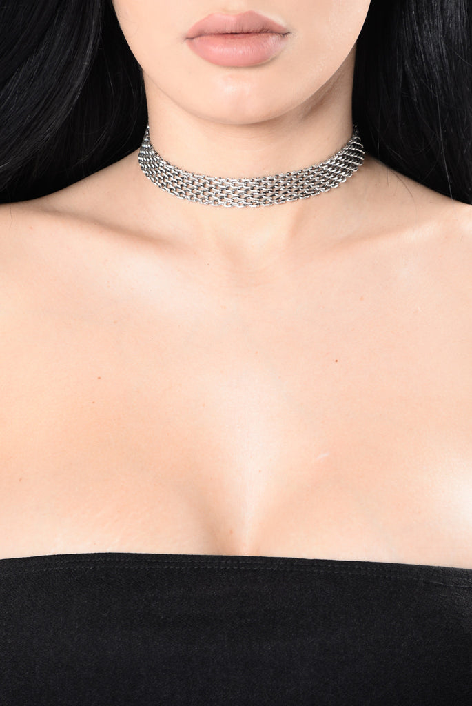 You Take My Breath Away Choker - Silver