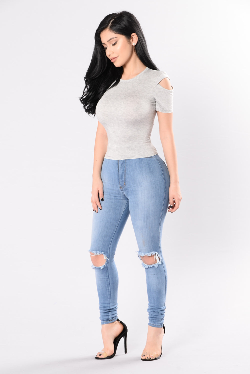 In The Clear Top - Heather Grey