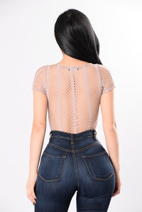 Through The Lines Bodysuit - Mauve