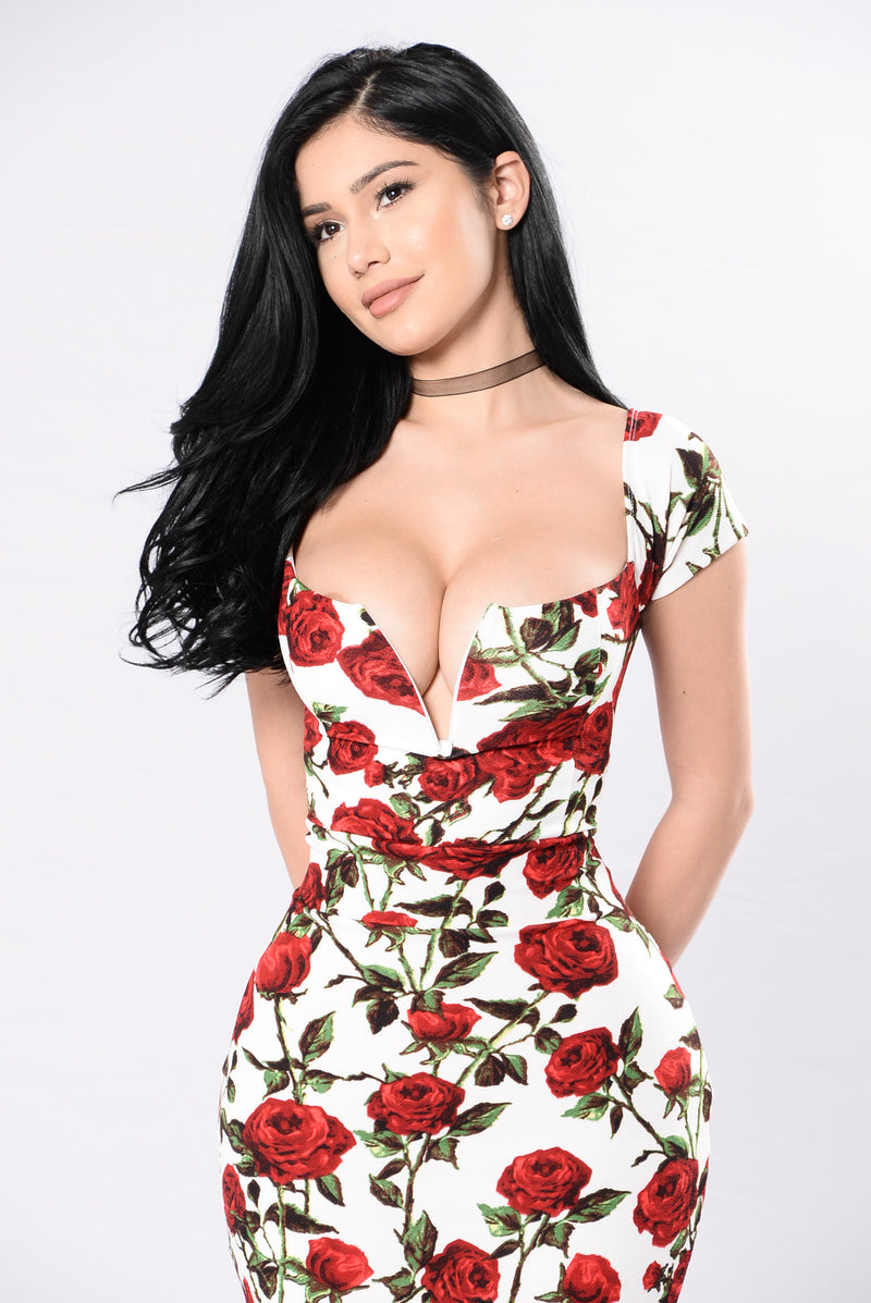 Be My Valentine Dress - Ivory/Red