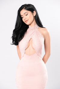 Lover's Lace Dress - Blush
