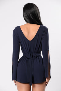 Blow The Candles Romper - Navy