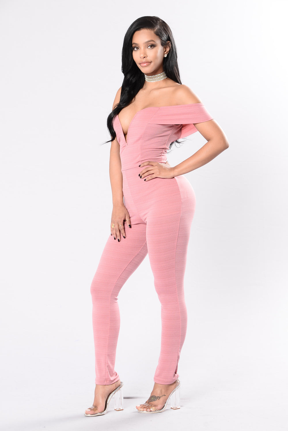 Stuck With Me Jumpsuit - Deep Rose