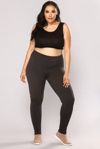 New Essential Fleece Leggings - Charcoal
