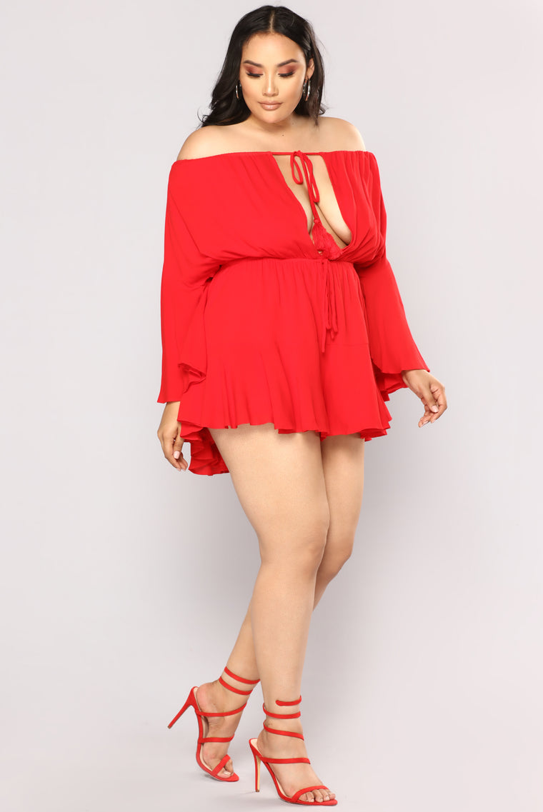 fbaba2245f Camellia Off Shoulder Romper - Red. plus-size. plus-size. plus-size