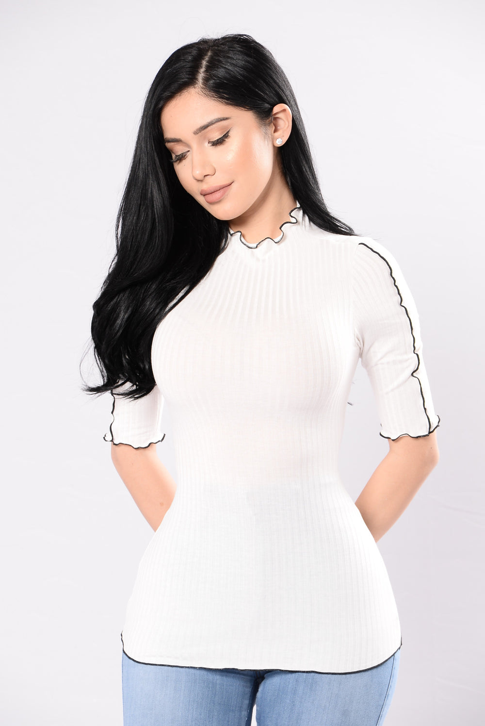 Already Taken Top - Ivory/Black