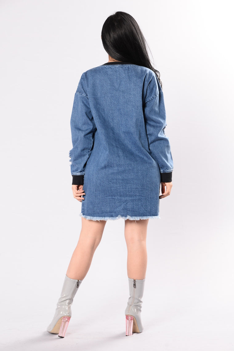 Think Outside Of The Box Dress - Medium Wash