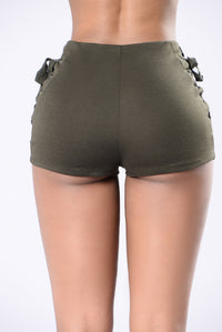 Out of Nowhere Shorts - Olive Angle 3