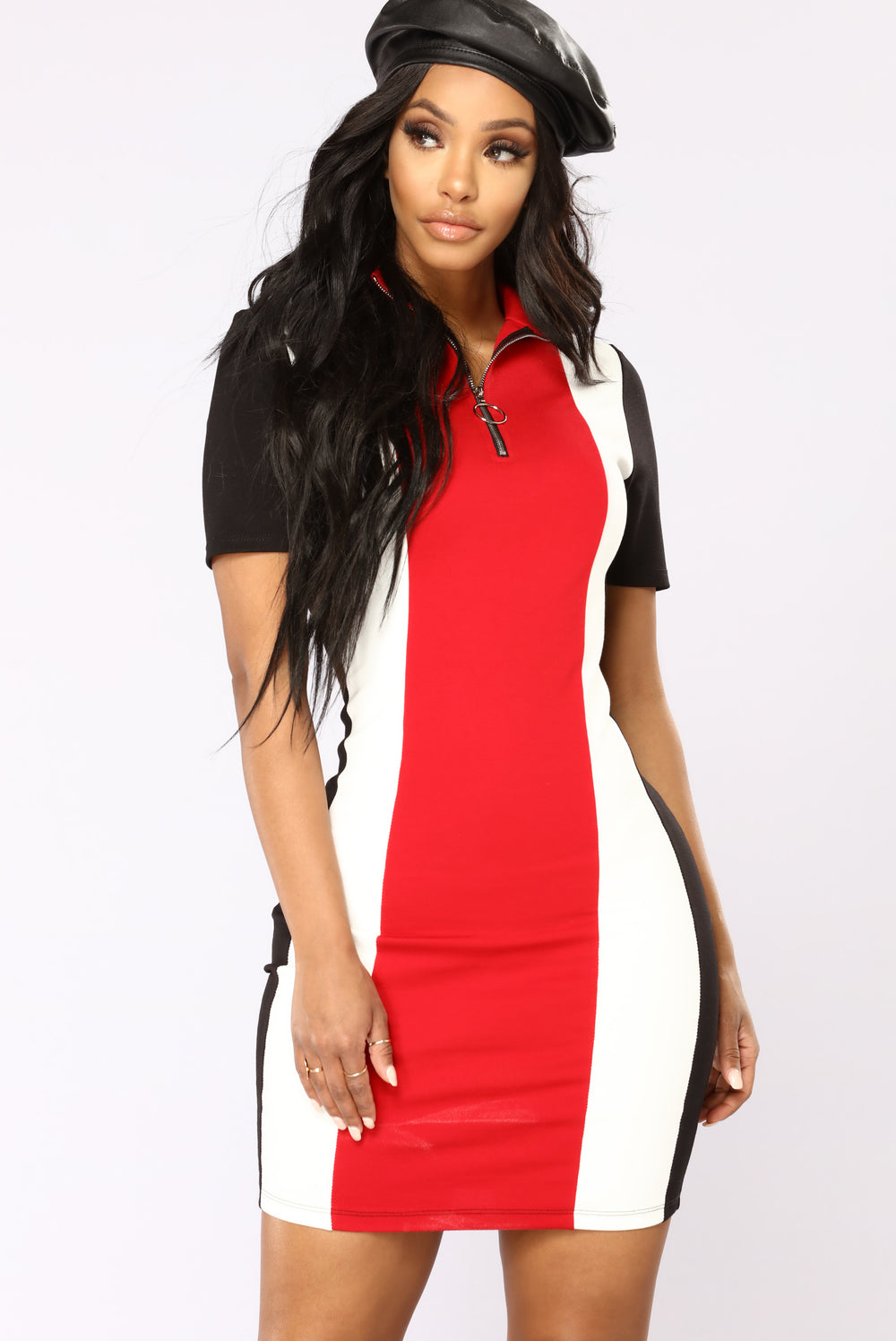 A Team Colorblock Dress - Black/Red