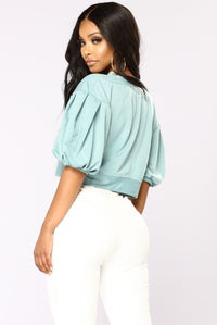 Let's Stay In Balloon Sleeve Top - Teal