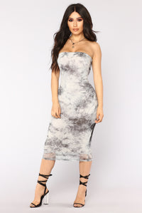 Plunge Into The Mist Midi Dress - Grey