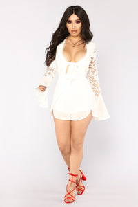 Mind Of Mine Long Sleeve Romper - Off White