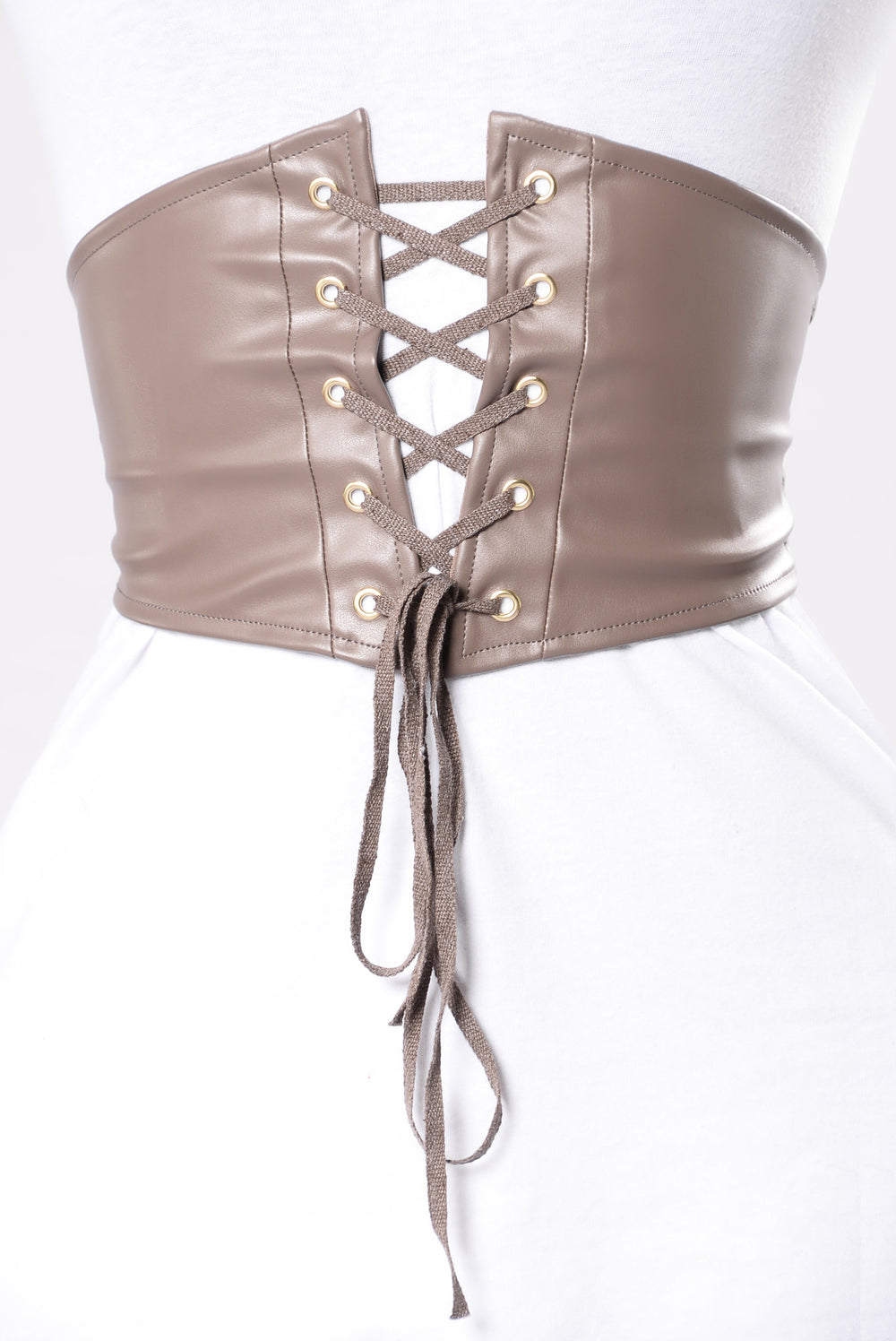 Cute Face Small Waist Belt - Taupe