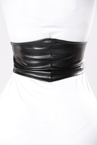 Cute Face Small Waist Belt - Black