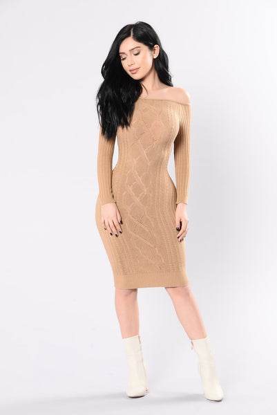 Blame It On The Beat Dress - Camel