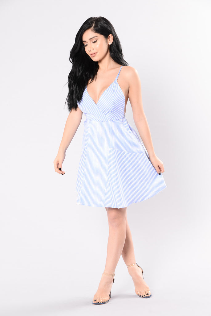 Pinstripe Poppin Dress - Blue/White