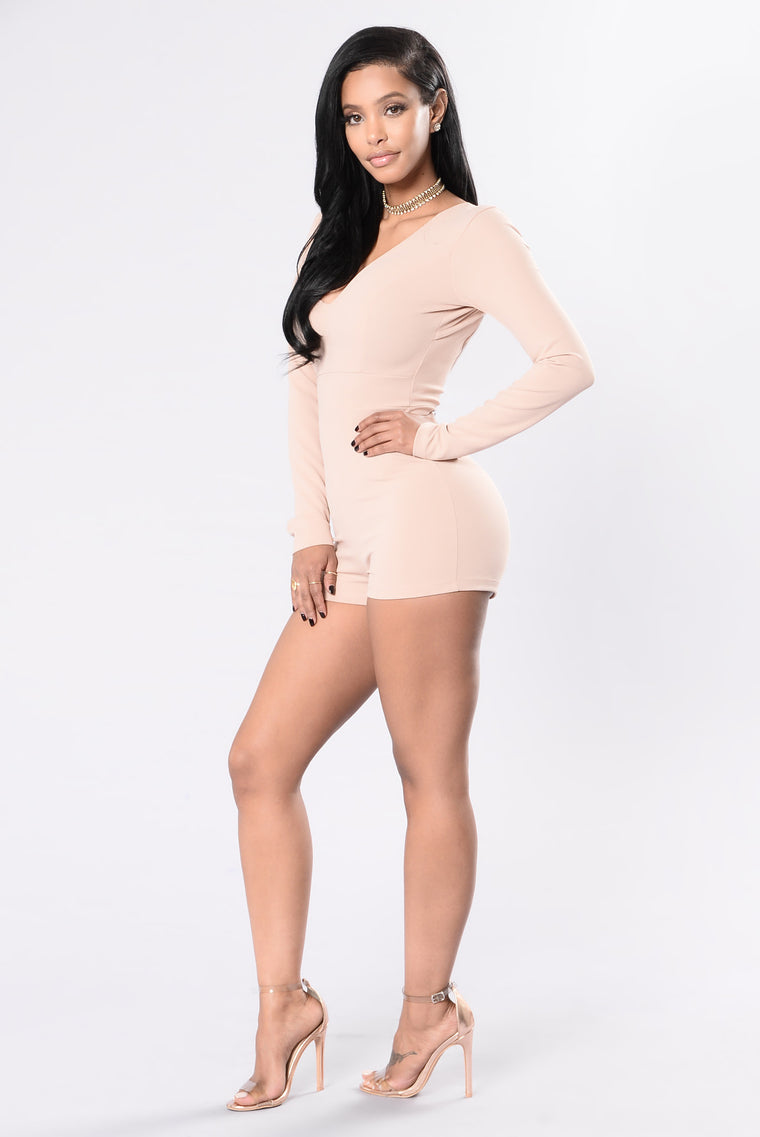 Champagne Kisses Romper - Nude Pink
