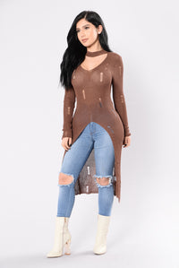 Breaking Hearts Sweater - Brown