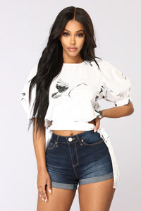 Blakely Crop Top - White/Black Angle 1