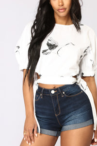 Blakely Crop Top - White/Black Angle 3