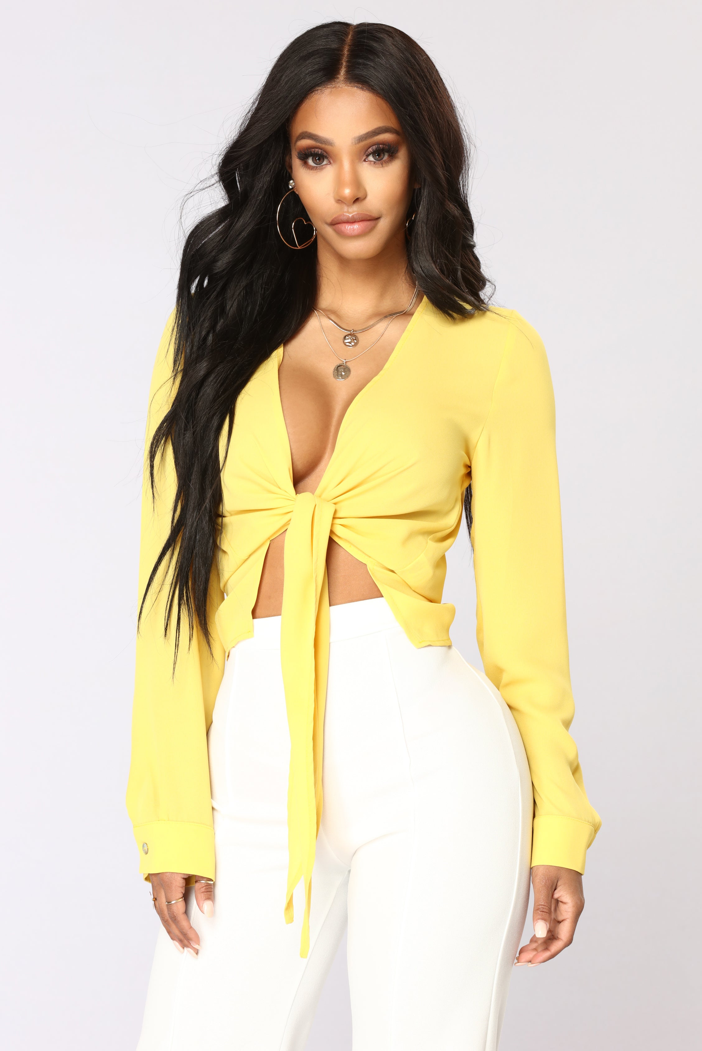 Rylie tie front top mustard ccuart Gallery