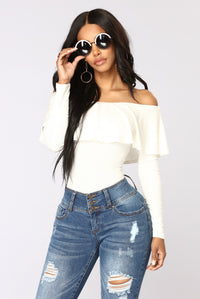 Electric Love Off Shoulder Top - Ivory Angle 1