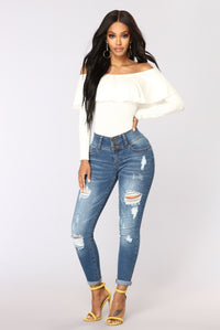 Electric Love Off Shoulder Top - Ivory Angle 2